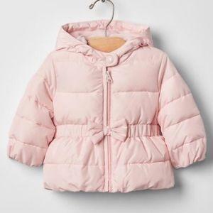 2/25Baby gap pink peplum bow puffer coat